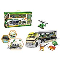SKAJOWID Toy Truck, Dinosaur Transporter Jurassic World Car Transporter with 4 Mini Dinosaurs, Four Mini Toy Cars, Early Childhood Education Toys, Child Birthday Gift, Suitable for Ages 3 And Up