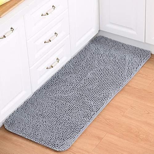 Morbuy Küchenmatte, Chenille Anti-Rutsch-Bequeme Super saugfähiger weicher Bodenmatte Wohnzimmer Fitness-Yoga-Matte (40 * 120cm, Grau)