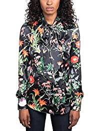 fdea1e9e HAWES & CURTIS Womens Black & Green Flower Fitted Satin Shirt - Single Cuff