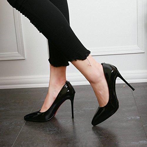 KHSKX-L'Autunno è Bene Con I Tacchi Alti Scarpe Di Cuoio Semplice Superficiale Bocca Trentaquattro Black