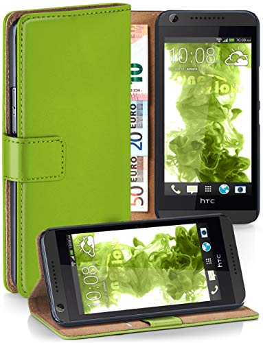moex Booklet mit Flip Funktion [360 Grad Voll-Schutz] für HTC Desire 626G | Geldfach und Kartenfach + Stand-Funktion und Magnet-Verschluss, Grün