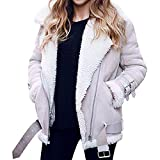 Luckycat Winter Frauen Kunstpelz Fleece Mantel Outwear Warme Revers Biker Motor Aviator Jacke Jacken Mäntel Sweatjacke Winterjacke Fleecejacke Steppjacke