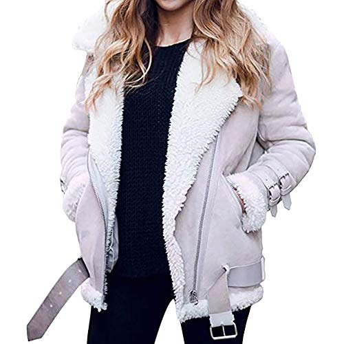 iHENGH Damen Warm bequem Parka Winter Jacke Faux Pelz Fleece Parka Mantel Outwear Revers Biker Motor Aviator(EU-50/CN-3XL,Grau)