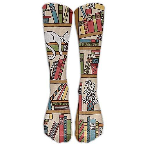 Yuerb Hohe Socken Style Unisex Socks Casual Knee High Stockings Nerd Book Lover Kitty Sleeping Over Bookshelf In Library Cotton Socks One Size