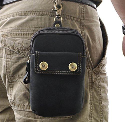 Le'aokuu Herren Leder Hüfttasche Gürteltasche Kleine Haken Taille Pack Telefon Beutel Tasche 009 schwarz