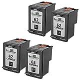 HP 62 XL C2P05AN Lot de 4 haute capacitié Speedyinks remanufacturée Cartouches d'encre Noir pour HP Envy 5640, 5642, 5643, 5644, 5646, 5660, 7640, 7645, Officejet 5740, 5742, 5745, 200, 250