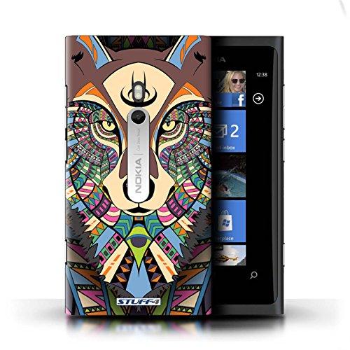 Coque en plastique pour Nokia Lumia 800 Collection Motif Animaux Aztec - Hibou-Couleur Loup-Couleur