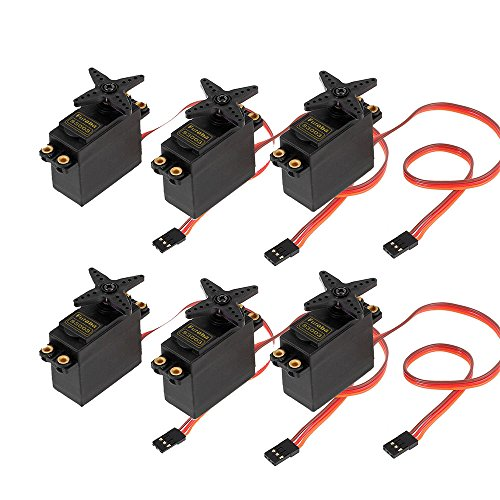 Price comparison product image Reelva 6 Pcs S3003 Micro Servo For Futaba Hitec RC Car Helicopter Plane Boat