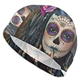 Gebrb Mexican Candy Flower Lycra Cuffie da Nuoto,Cuffie da Bagno,s Bathing And Shower Hair Cover Ear Protection for Long Hair & Thick Hair & Curly Hair, Easy to Put On And off