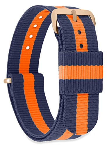 MOMENTO Watch Strap by NATO Nylon for Women and Men with Stainless Steel Buckle in Pink Gold with Blue Fabric in 22mm