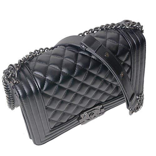 Lady Salon Frauen Karriere OL Handtasche Kariert Kette Tasche Umhaengetasche Mode-Strasse Damentaschen (Hardware-Upgrade,schwarz) - 3