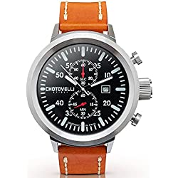 Chotovelli Big Pilot Men's Watch Chronograph Vintage Brown leather Strap 747.11