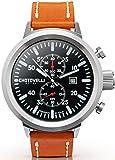 Chotovelli große Fliegeruhr -Herren Armbanduhren -Chronograph -Hellbraun leder 747.11