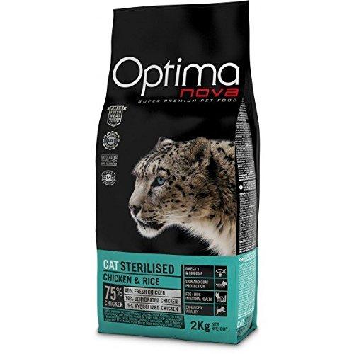 Optimanova Super Premium Sterilised Katzenfutter - Trockenfutter Hähnchen und Reis – 2 kg - hypoallergen - 40 % Frischfleisch - Erwachsene Katzen - ab dem 12 Monate - Sterilisiert