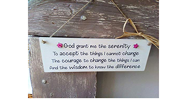 Inspirational Poem Handmade THE SERENITY PRAYER Plaque With Optional Roses