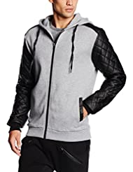 Urban Classics Herren Kapuzenpullover Diamond Leather Imitation Sleeve Zip Hoody