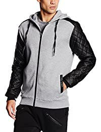 Urban Classics Diamond Leather Imitation Sleeve Zip Hoody, Sweat-Shirt à Capuche Homme