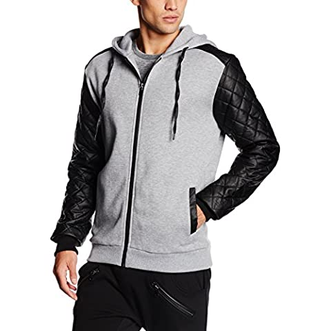 Urban Classics Diamond Leather Imitation Sleeve Zip Hoody, Cappuccio Uomo, Multicolore