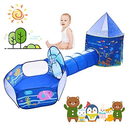 STLove Tenda Bambini, Indoor/Outdoor Gioco e Play Tent Tube Tenda,Tenda per Neonati Pieghevole Portatile, Ideale per Viaggio in Spiaggia (Blu)