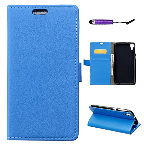 HTC Desire 828 - Backcase Phone Case Wallet Style Flip Cover Case for HTC  Desire 828 Only (HTC Desire 828 Cover Blue)