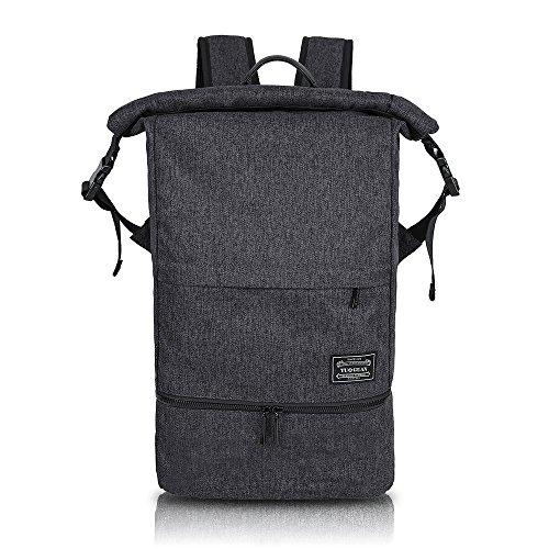 Rucksack Wasserdichte Sporttasche Roll Top Nasse und Trockene Trennung Training Bag Multifunktional Daypack Outdoor für 15.6 Zoll Laptop und Schuhe für Damen und Herren (Schwarz) (Pvc-computer-tasche 100%)