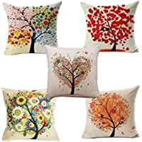 "Yangbaga Cushion Cover, Set of 5 Four Season Tree Pillowcase Square Hull House Sofa Cover 18"" X 18"""