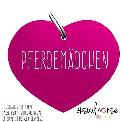 """Pferde Glücksmarke Herzmarke \""""#PFERDEMÄDCHEN\"""" in pink von Soulhorse fürs Halfter, Trense und Zaumzeug"""