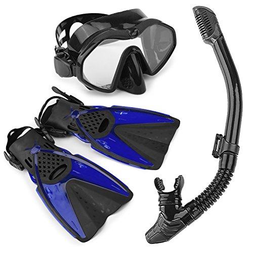 Arkmiido Ensemble Palme Masque Tuba avec Sac, Kit de Plongée/Snorkeling ,Masque Plongée Chasson, Masque Tuba Adulte de Qualité Supérieure