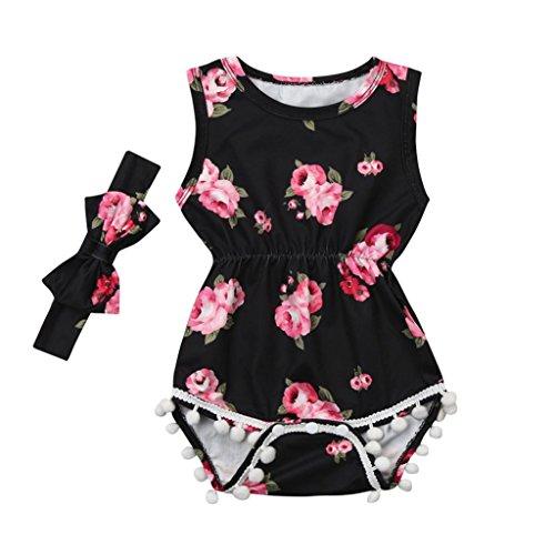 Baby Kinder Mädchen Sommer Kleidung Bekleidungssets Playsuit KleidungBabykleidung Outfits Kleidung Set Spielanzug Overall Stirnband Trainingsanzug Set 2PCS (6-24Monat) LMMVP (Schwarz, 24 ()