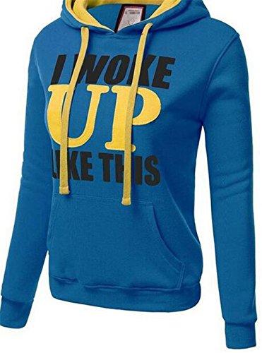 Gogofuture Mode Lettre D'impression des Femmes Sweat à Capuche de Poche Hooded Pull Sweat-Shirts Pullover Tops Chemisier University blue