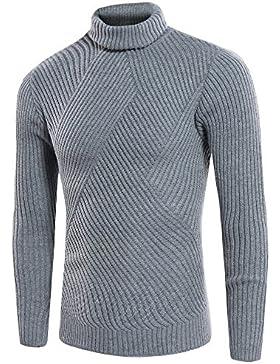 HDYS Los hombres suéter de cuello alto de cobertura de otoño de color sólido gris ,la juventud,3xl