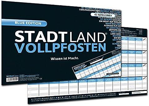DENKRIESEN - STADT LAND VOLLPFOSTEN® - Wissen ist Macht 'BLUE EDITION' Offizielle Erweiterung des Klassikers - 50 Blätter - STADT LAND FLUSS NEU AUFGELEGT - XXL BLOCK