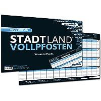 DENKRIESEN-Stadt-Land-Vollpfosten-Blue-Edition-Erweiterung-Wissen-ist-Macht-Spielblock-DIN-A3-Format-50-Blatt