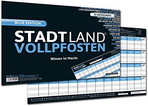 GeschenkIdeen.Haus - DENKRIESEN Stadt Land Vollpfosten Blue Edition - Spielblock DIN-A3 Format 50 Blatt