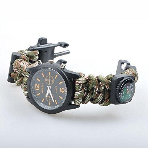 Edealing 1pcs 5 in 1 Außen Travel Kit Camping Feuerstein-Feuer-Starter-Kompass-Uhr Whistle Überlebensausrüstung Paracord Schneidmesser Rettungsseil