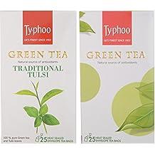 Typhoo Green Tea Tulsi And Plain Green Tea, 25 Tea Bags Each (Pack of 2)