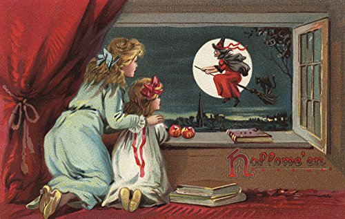 (Halloween Grußkarte–Hexe aus dem Fenster, Papier, multi, 12 x 18 Art Print)