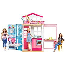 Barbie - Casa dos pisos transportable, muñeca incluida (Mattel DVV48)