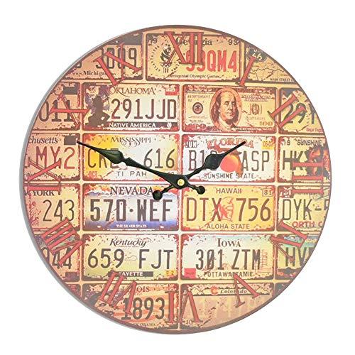 BGGZXX Reloj de Pared Reloj Retro Decoración de Pared Reloj electronico, Creativo Restaurante Cocina de casa Grande,35cmindiameter