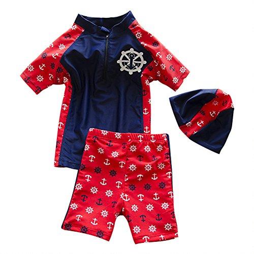 Moolecole Kinder Badeanzug Junge Badeanzug Lange Ärmel Sonnencreme Beachwear Rot Navy Blau L