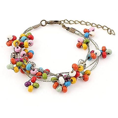 sourcingmap® Women Lobster Clasp Beads Beaded Adjustable Bangle Bracelet Multicolor