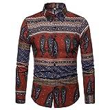 Camicie Casual da Uomo, YU'TING ☀‿☀ Camicia a Maniche Lunghe da Uomo Lino Estivo, Tradizionale Hippy Boho Camicia da Uomo Casual Etnica