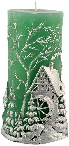 Magic Candle World Candles pintado a mano Navidad Vela, cera de parafina, verde, 11,5x 11,5x 18cm