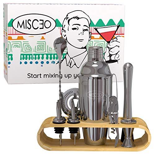 MISC?O Edelstahl Cocktail Set - 12 Stück inkl. Shaker, Accessoires und Eco Bambus Ständer mit extra Rezepte Ebook ? Perfekt am Valentinstag für ihn!