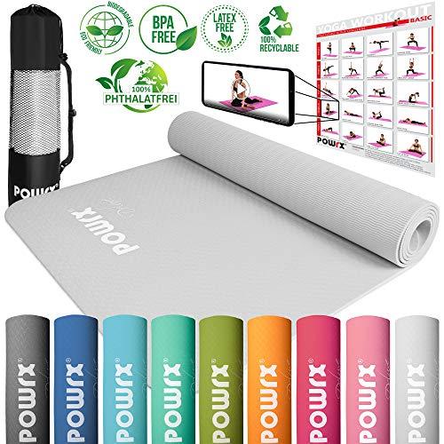 POWRX Yogamatte Pro inkl. Tasche + Gratis Workout – rutschfest + schadstofffrei TPE umweltfreundlich I Gymnastikmatte 173 x 61 x 0,5 cm I Trainingsmatte hautfreundlich versch. Farben