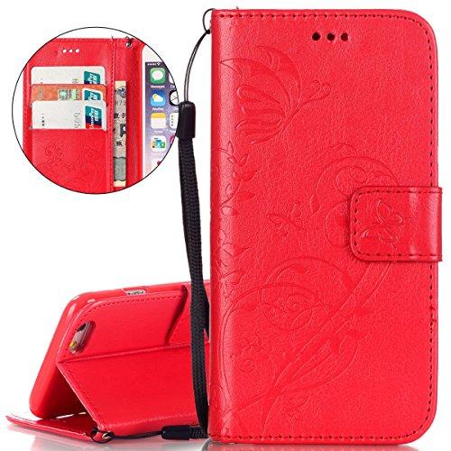 Cover floreale per iPhone 6 Plus/6S Plus, ISAKEN iPhone 6 Plus, motivo a foglie in rilievo, colore: rosso-Custodia in pelle PU a portafoglio, con porta carte di credito, chiusura magnetica, con suppor Flower: rossa