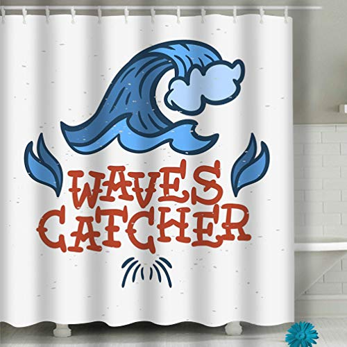 Curtain Surfing surf Themed Hand Drawn Traditional Old School Vintage Inspired Promotion ads Surfing surf Fabric Bathroom Decor 60 X 72 Inch ()