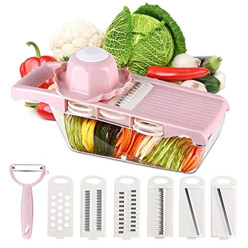 CENOW Gemüseschneider Mandoline Obstschneider, Gemüsehobel, Küchen Gemüseschneider 6 in 1 MultischneiderSchäler, Handschutz, Lagerung von Lebensmitteln, Kartoffeln, Tomaten, Käse, Mandolinenschneider