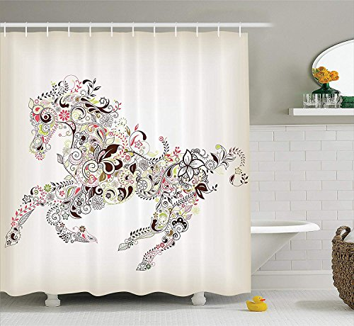 BUZRL Horse Shower Curtain Abstract Home Decor, Abstract Floral Horse Flower Leaf Ornamental Paisley Pattern Swirl Artwork, Bathroom Accessories, 66x72 inches, CreamBrown