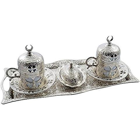 Clover-greco turco in ottone, numeri arabi da caffè per Espresso, Set da 2 tazze e (2 Pezzi Ottomana)